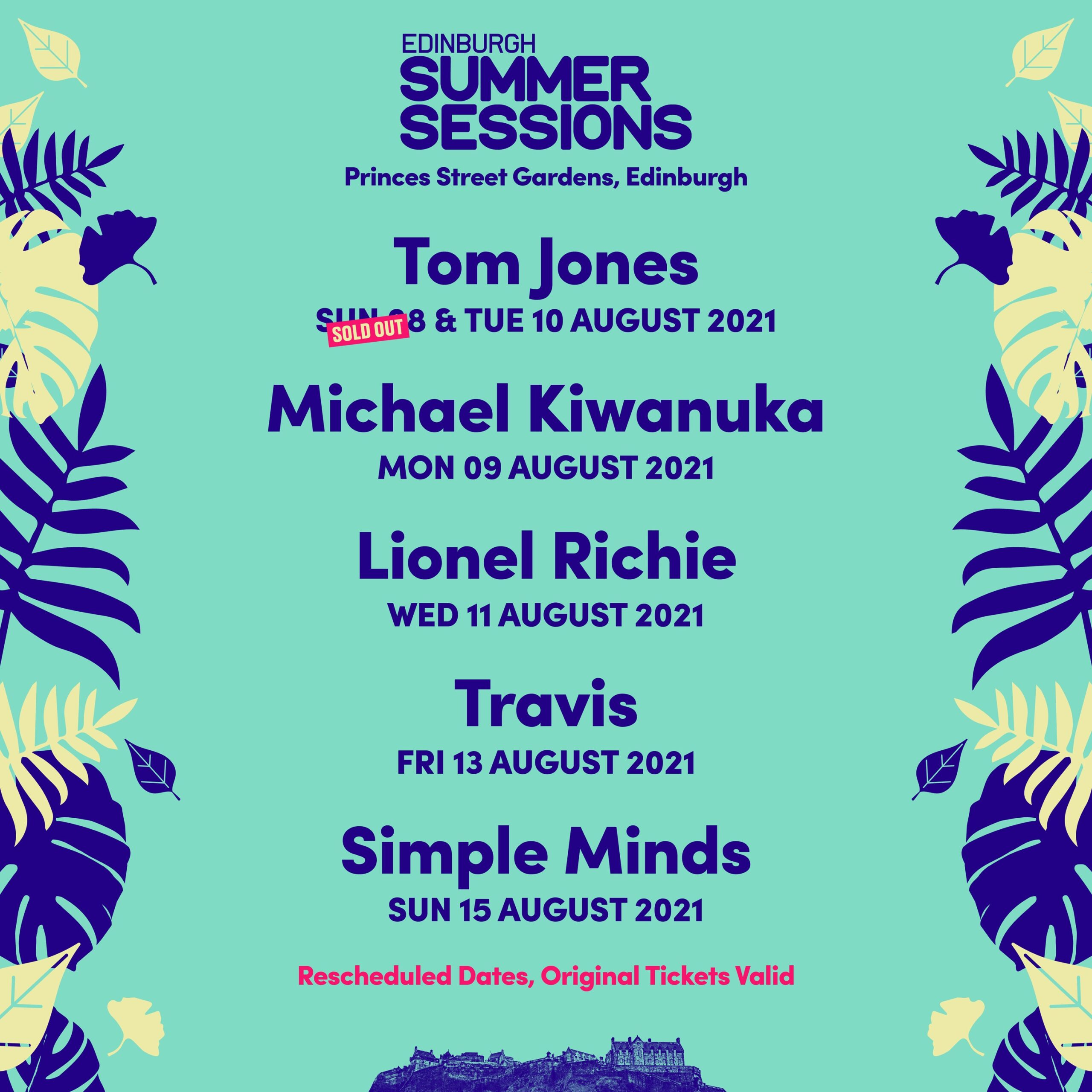 EDINBURGH SUMMER SESSIONS ANNOUNCES RESCHEDULED DATES FOR LIONEL RICHIE, MICHAEL KIWANUKA, SIMPLE MINDS,TOM JONES AND TRAVIS IN SUMMER 2021