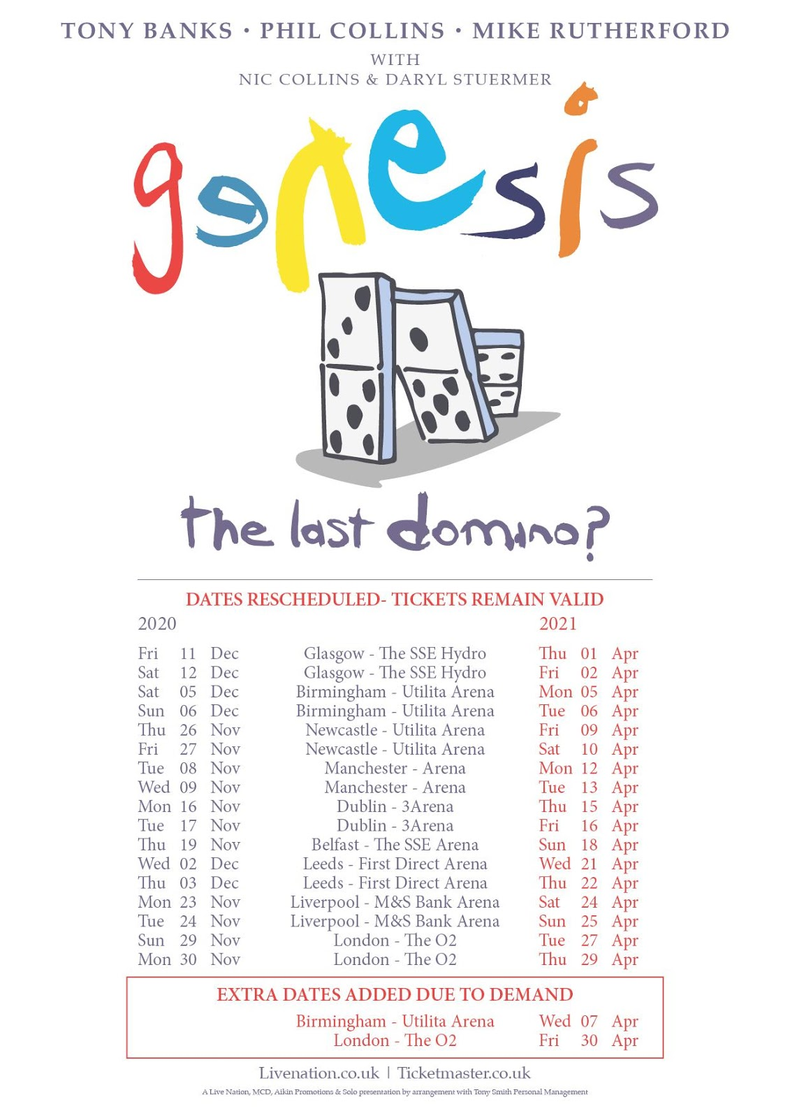 Genesis, The Last Domino? Tour re-scheduled to 2021