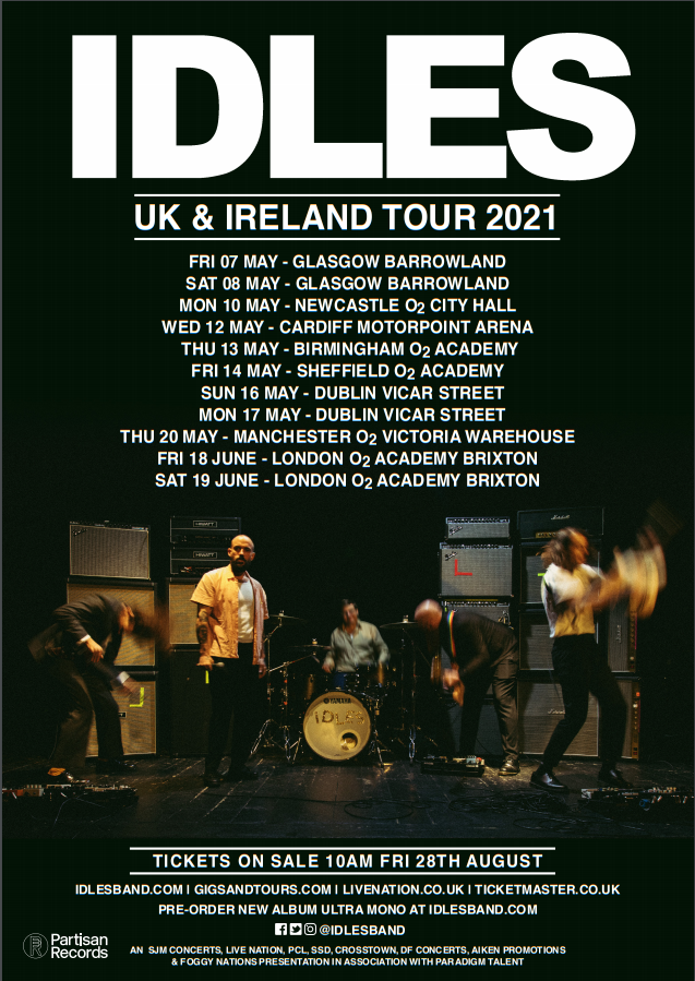 IDLES ANNOUNCE NEW TOUR DATES FOR 2021
